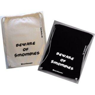 Turnbeutel mit beware of smombies-Aufdruck, aus Baumwolle