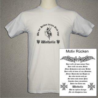 Walhalla Wikinger T-Shirt - weiß - beidseitig bedruckt - XL - Old English